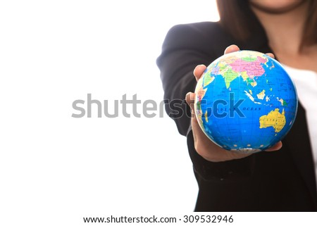 Business woman people holding globe. Elements of this image furnished by NASA - stock photo