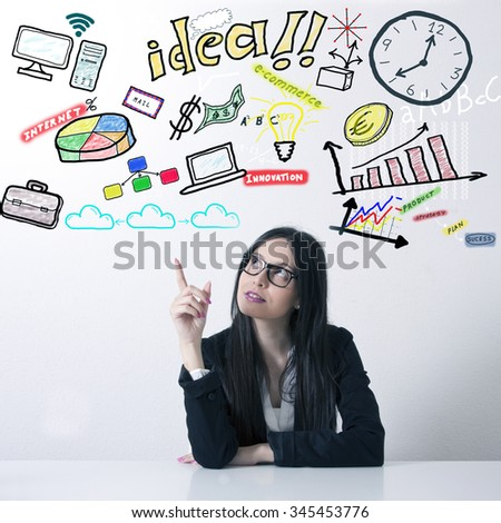 Business woman planning office - stock photo