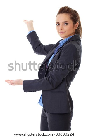 Business woman point back with her hand, isolated on white - stock photo