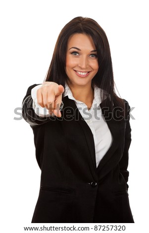 Business woman point finger at you looking at camera. Isolated on white background