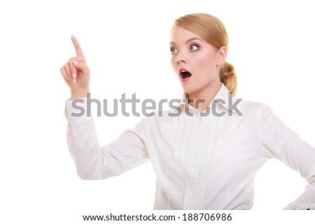 Business woman point finger empty copy space, businesswoman showing side, concept advertisement product push touch screen, pressing digital virtual button. Surprised face expression isolated on white