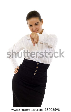 Business woman pointing at camera over white