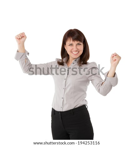 Business woman pointing at copy space, isolated on white - stock photo