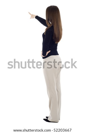 Business woman pointing at something isolated over white background, a lot of copyspace - stock photo