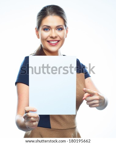 Business woman pointing finger on white blank banner. Isolated background. - stock photo