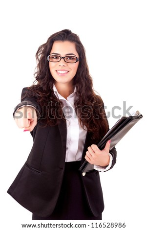 Business woman, pointing forward - isolated over white