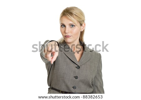 Business woman pointing straight ahead isolated on a white background - stock photo
