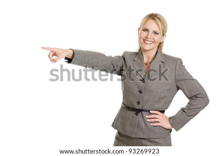 Business woman pointing to the left isolated on white - stock photo