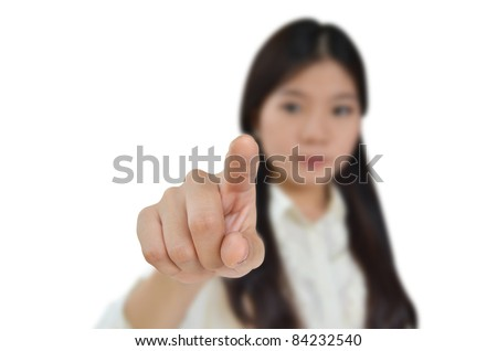 Business woman pointing to you isolated on white background - stock photo