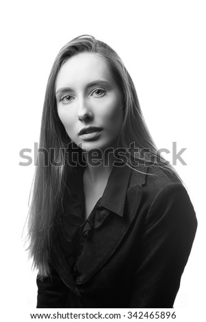 Business woman portrait . Caucasian blue eyes female. Black and white - stock photo