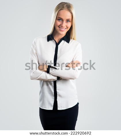 Business woman portrait. Crossed arms. - stock photo