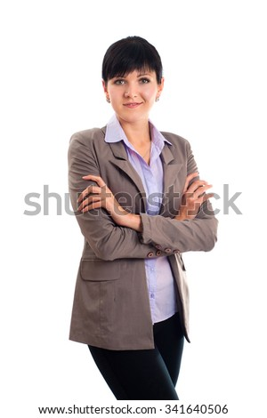 Business woman portrait . Crossed arms. isolated  background - stock photo