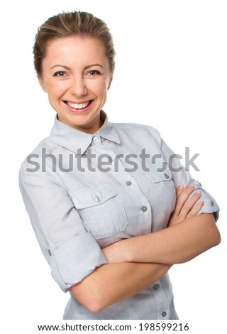 Business woman portrait, crossed arms, isolated on white