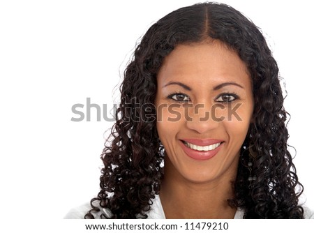 business woman portrait - isolated over a white background - stock photo