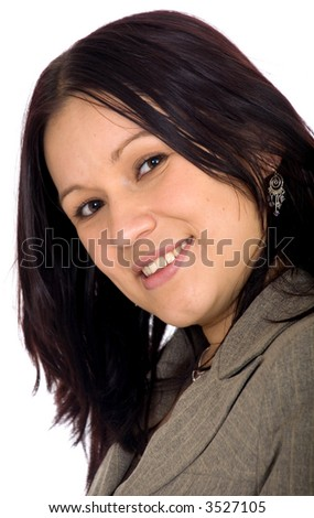 Business woman portrait over a white background