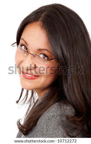 business woman portrait smiling and wearing glasses isolated over a white background - stock photo