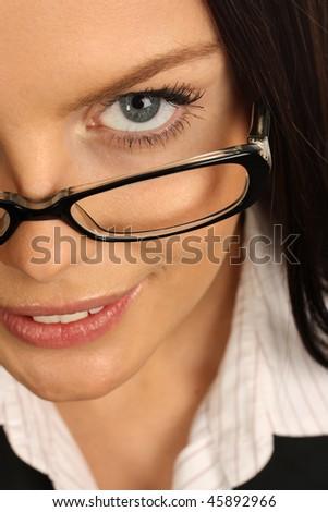 business woman portrait wearing glasses - stock photo