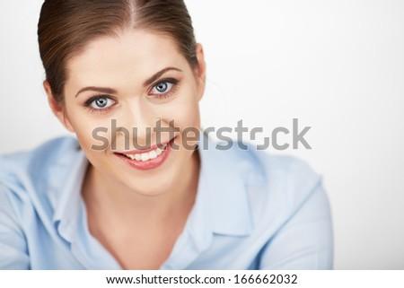 Business woman portrait . White background . - stock photo
