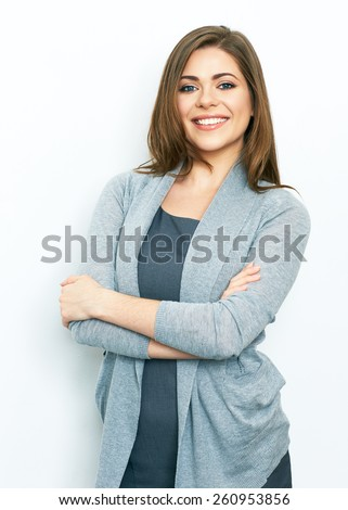 Business woman portrait with crossed arms isolated on white background. Young smiling woman. office worker.