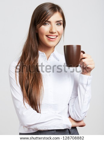 Business woman portrait with cup , isolated. Female model with long hair. - stock photo