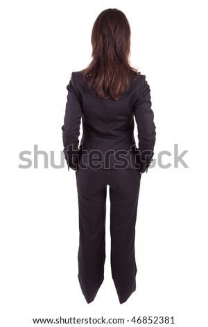 Business woman posing backwards isolated over white - stock photo