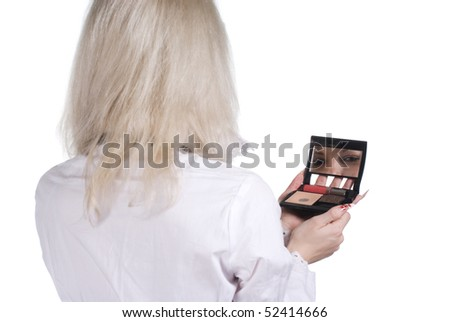business woman posing with mirrow on white background isolated - stock photo