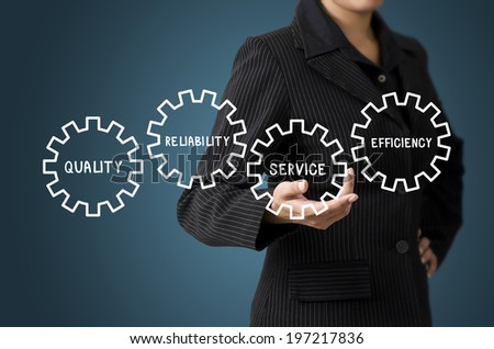 Business Woman Present Business Diagram Concept - stock photo