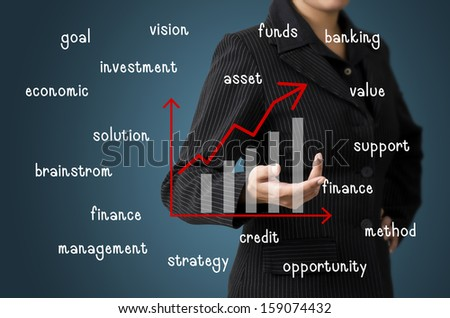 Business Woman Present Business Graph Concept - stock photo