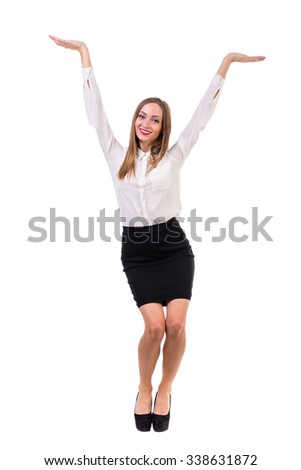 Business woman presenting a copyspace. Isolated on white background. Full body. - stock photo