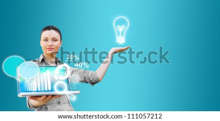 Business woman presenting technological solutions with her laptop and virtual icons - stock photo
