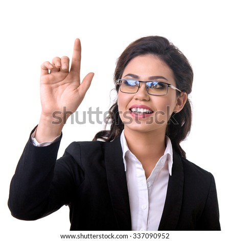 business woman presses a touchscreen