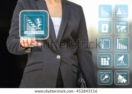 Business woman pressing ,Business concept button