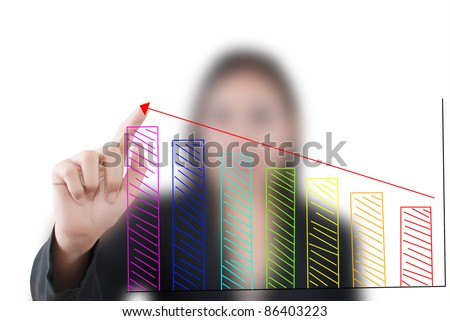 Business woman pressing up plan for business concept.
