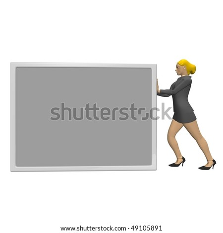 business woman pushing a paper text
