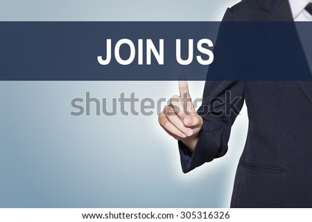 Business woman pushing JOIN US word on virtual screen for e-commerce background - stock photo