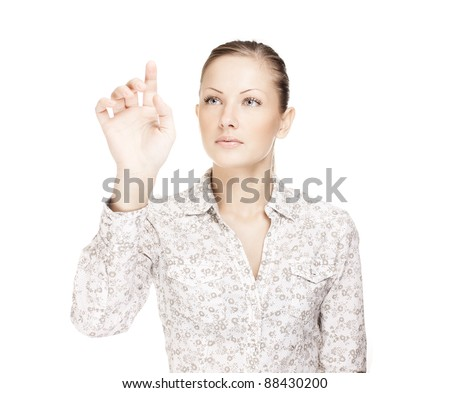 Business woman pushing on button - stock photo