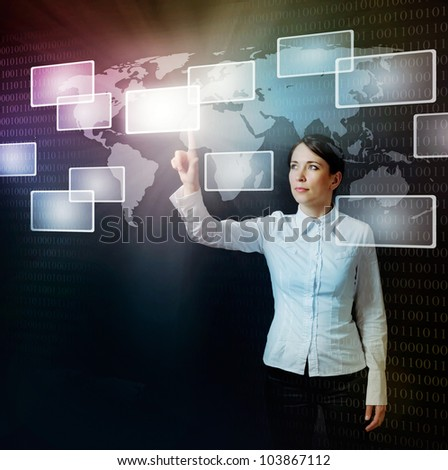 business woman pushing virtual button in web interface with her finger over black - stock photo