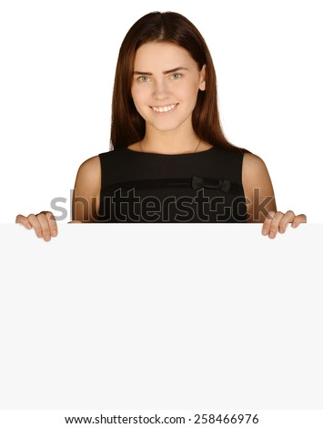 Business woman put her hand on a blank white board