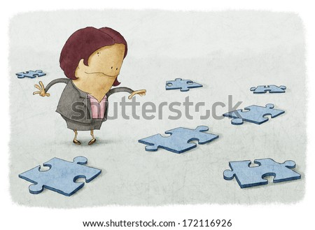 Business woman puzzles - stock photo