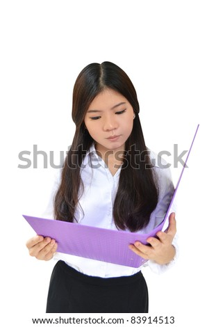 Business woman reading document file isolated on white - stock photo