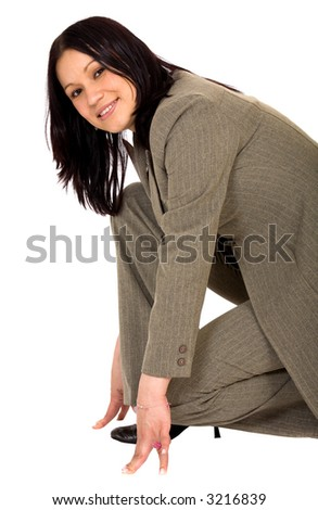 Business woman ready to race over a white background - stock photo