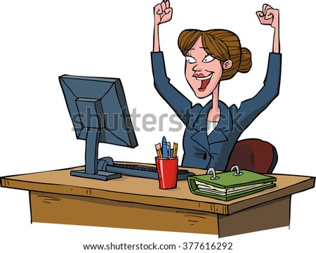 Business woman rejoices at a computer raster version - stock photo