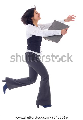 Business woman running in suit in full body isolated on white background - stock photo