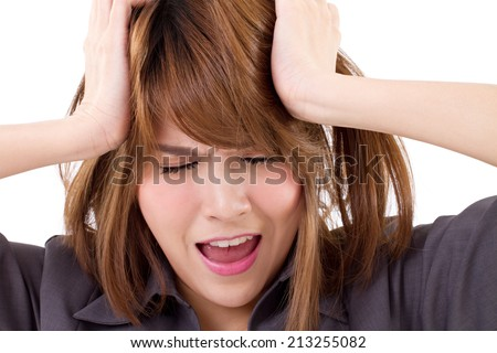 business woman screaming, crying, shouting on white isolated background, concept of problem, bankruptcy, failure  - stock photo