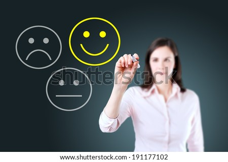 Business woman select happy on satisfaction evaluation. Blue background. - stock photo