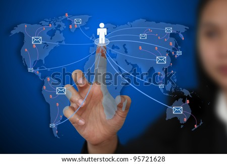 business woman send e-mail to the world for communication concept - stock photo