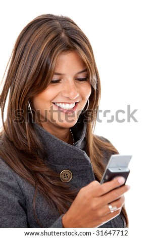 business woman sending a text message on her mobile phone - isolated - stock photo