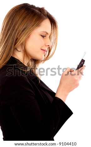 business woman sending a text message on her mobile phone - isolated over a white background - stock photo