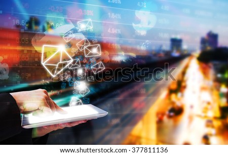 Business woman sending email marketing - stock photo