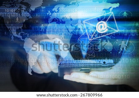 Business woman sending email marketing by using mobile phone